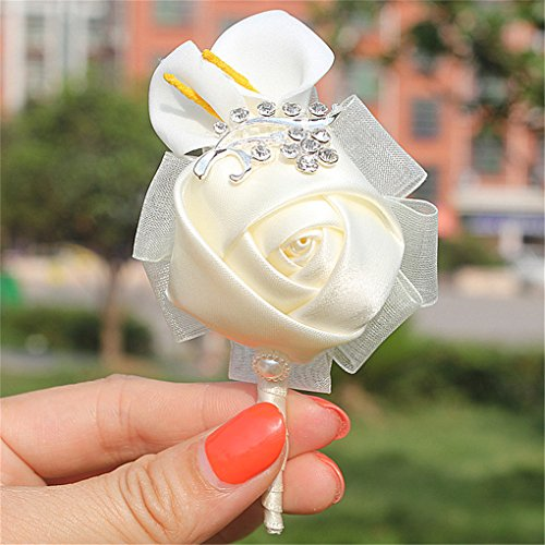 KUPARK 4pcs Boutonniere Groom Groomsman Best Man Calla Lily Wedding Flowers Accessories Prom Suit Decoration, Style 1