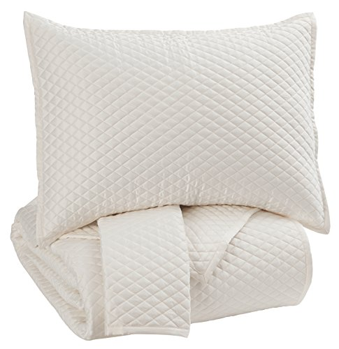 Signature Design by Ashley Q256053Q Dietrick 3 Piece Quilt Set, Queen, Ivory (Luxury Retailers Furniture)