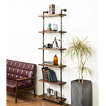 Image of DEOKOR Pipe and Wood Shelves – Industrial Floating Wall Shelves – Wood Pipe Bookshelves – Plumping Pipe and Handmade Fir Wood Shelves – Iron Pipes with Boards in Color Special Walnut Home and Kitchen