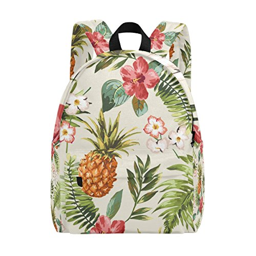 fcef6796430e MAPOLO Vintage Tropical Flowers Pineapple Lightweight Travel School  Backpack for Women Girls Teens Kids
