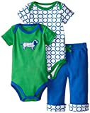 Yoga Sprout Baby-Boys 3 Piece 2 Bodysuits and Pant Set Dog, Boy Dog, 12-18 Months