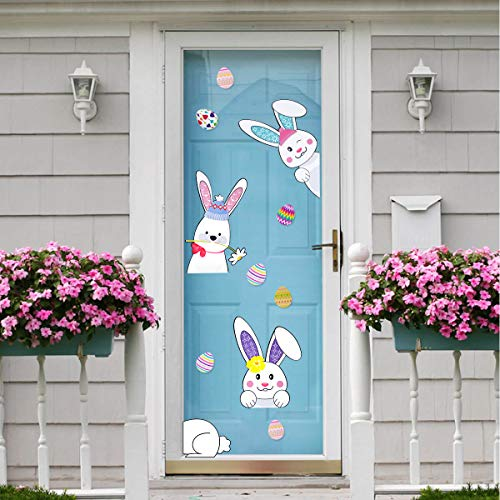 MORDUN Easter Decorations for The Home - Bunny Eggs Window Stickers - Spring Decor for Wall Door Party Kitchen Classroom -