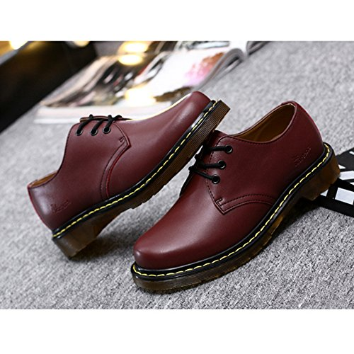 T-JULY Womens Fashion Oxfords Shoes - Comfy Low Heel Round Toe Casual Shoes Flats Red fNcAMqZngW