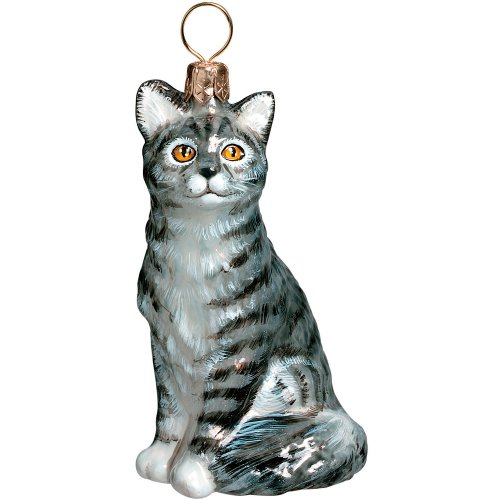 American Shorthair Gray Sitting Cat Polish Glass Christmas Ornament Decoration