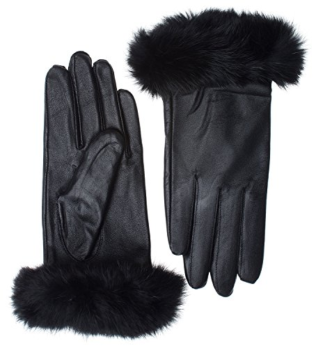 Womens Lambskin Leather Winter Warm Gloves with Genuine Rabbit Fur Cuff (Black)