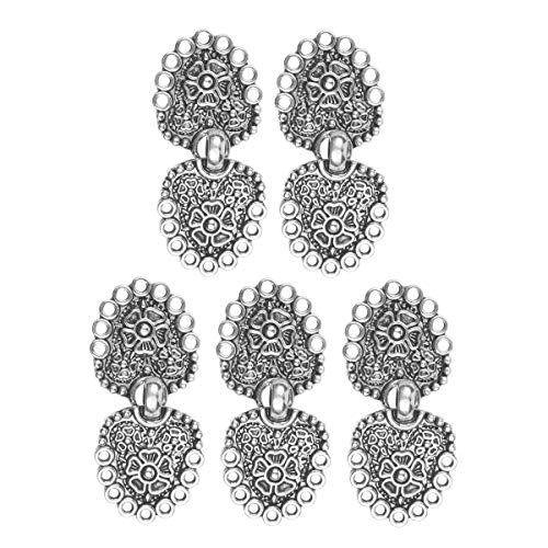 CHICTRY 5 Pairs Unique Heart/Flower Shape Cape or Cloak Clasp Fasteners Decorative Sew On Hooks and Eyes Cardigan Clip Clothing Accessory Silver Type ()