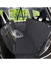 Dog Car Seat Cover,Waterproof Pet Seat Cover with Mesh Visual Window & Seat Belt Opening & Storage Pockets,Wear-Proof Dog Back Seat Hammock for Cars, Trucks and SUV - 147 x 137 cm
