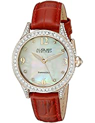 August Steiner Womens AS8188RD Rose Gold Crystal Accented Quartz Watch with White Mother of Pearl Dial and Red...