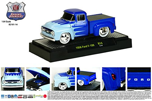 (M2 Machines 1956 FORD F-100 (Blue) Ground Pounders Release 14 2015 Castline Premium Edition 1:64 Scale Die-Cast Vehicle (R14 15-02))