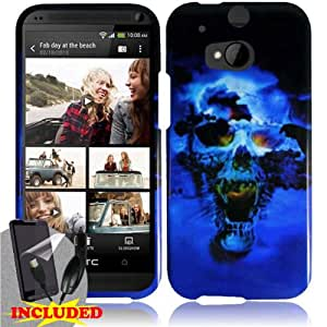 HTC One 2 M8 - 2 Piece Snap On Glossy Image Case Cover, Blue Scary Skull Black Cover + SCREEN PROTECTOR & CAR CHARGER