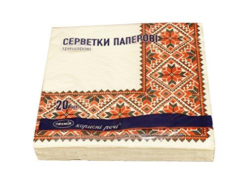 (20 pcs Ukrainian embroidery themed design paper serviettes 3-ply napkins decor)