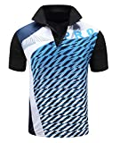 ZITY Mens Polo Shirt Cool Quick-Dry Sweat-Wicking Color Block Short Sleeve Sports Golf Tennis T-Shirt(Eblue-M)