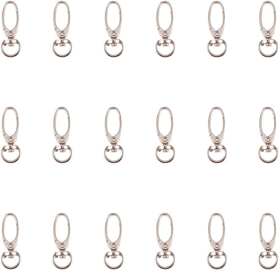NBEADS 80 Piezas de Cierres de Ganchos Giratorios de Hierro Platino, Broches de Metal con Pinzas de Langosta para Llavero, Llaveros, Bolsos de Bricolaje Y Resultados de la Joyería