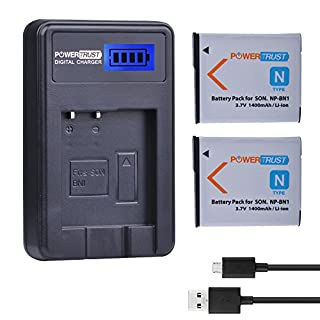 PowerTrust 2-Pack 3.7v NP-BN1 Replacement Battery and LCD USB Charger for Sony NP-BN1 Cyber-shot DSC-QX10 QX100 T99 T110 TF1 TX5 TX7 TX9 TX10 TX20 TX30 TX55 TX66 TX100V TX200V W310 W320 W330 W350 W360