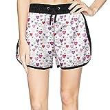 Eoyles Heart Summer Beachwear Quick Dry Beach Short Shorts for Women Novelty Shorts