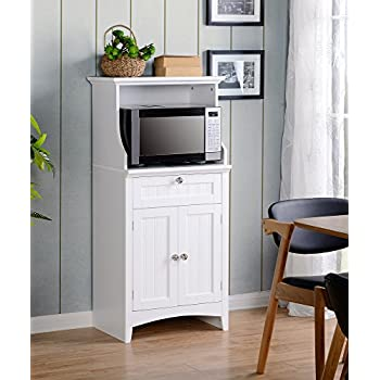 Image of American Furniture Classics OS Home and Office Microwave/Coffee Maker Utility Cabinet, White