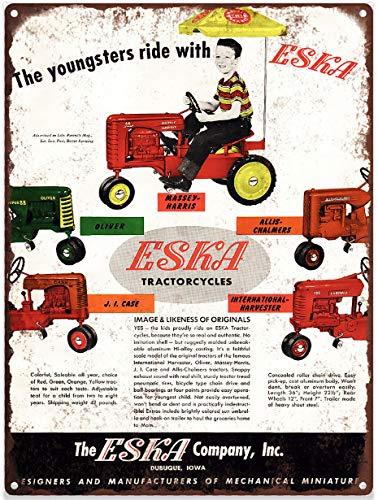 Yilooom 1955 Eska Pedal Tractor Farmall Harvester Baked Metal Repro Sign 12