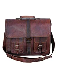 "18"" Inches Classic Adult Unisex Cross Shoulder Leather Messenger Laptop Briefcase Bag Satchel Brown"