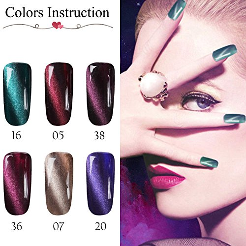 Gellen 3D Cat Eye Gel Nail Polish Set - Elegance 6 Colors with 1pc Magnet Wand, Trendy Home Nail Art Gel Manicure Kit
