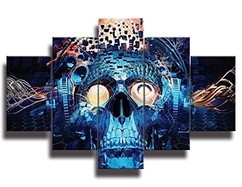 Halloween decoration Painting Face Projects Navy Blue Skeletons Canvas Wall Art ,Day of The Dead Pictures Figures Abstract Artwork Framed for Living Room 5 Panel Stretched Ready to Hang(50''Wx24''H) -