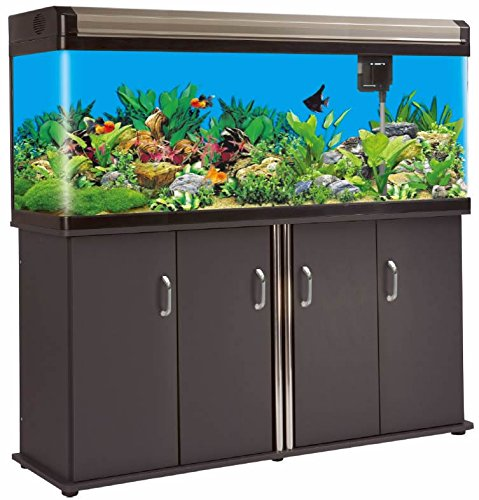 133 Gallon Glass Fish Tank Reef Aquarium, with Filter System, T8 Lighting System, and Cabinet Stand, for Fresh or Salt Water (Sd Tank Supply)