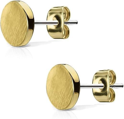 Kreis rund matt gold Design Ohrringe Ohrstecker Stecker 925 Sterling Silber neu