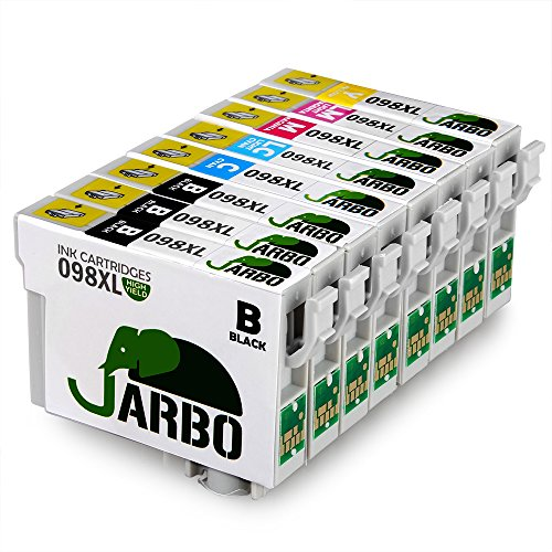JARBO 1 Set+2 Black Replacement For Epson 98 High Capacity, 8 Packs(3 Black 1 Cyan 1 Magenta 1 Yellow 1 Light Cyan 1 Light Magenta), Worked With Epson Artisan 810 700 800 710 725 730 835 837 Printer
