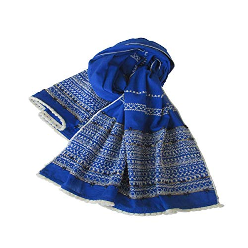 COBALT BLUE Hand Embroidered Panels All Season Cotton Scarf