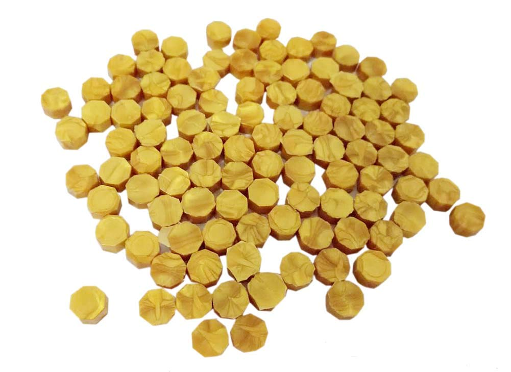 QHZHANG 200pcs Gold Sealing Wax Beads for Documents Sealing (11/Gold)