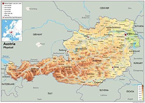Cartina Austria Stradale.Austria Mappa Fisica Carta Plastificata A1 Size 59 4 X 84 1 Cm Amazon It Cancelleria E Prodotti Per Ufficio