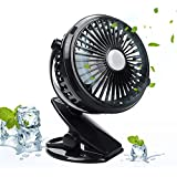EpochAir Battery Operated Clip on Fan, Portable Mini Table Desk Fan with 2600 mAh Rechargeable Battery and USB Cable for Home Office Cooling, Compatible with Car Seats Baby Strollers Desks Chairs