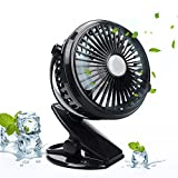 Image of EpochAir Battery Operated Clip on Fan, Portable Mini Table Desk Fan with 2600 mAh Rechargeable Battery and USB Cable for Home Office Cooling, Compatible with Car Seats Baby Strollers Desks Chairs