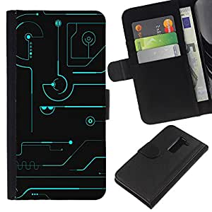 All Phone Most Case / Oferta Especial Cáscara Funda de cuero Monedero Cubierta de proteccion Caso / Wallet Case for LG G2 D800 // Technical Blue Black Futuristic Schematics