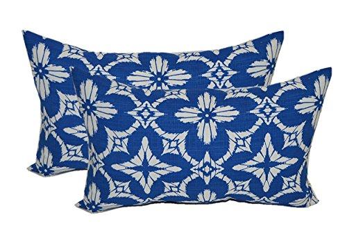 (Set of 2 - Indoor/Outdoor Rectangle/Lumbar Decorative Throw/Toss Pillows ~ Richloom Aspidoras Cobalt - Royal Blue/White Geometric Sunburst)