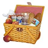 Vintiquewise Gingham Lined Picnic Basket with Folding Handles