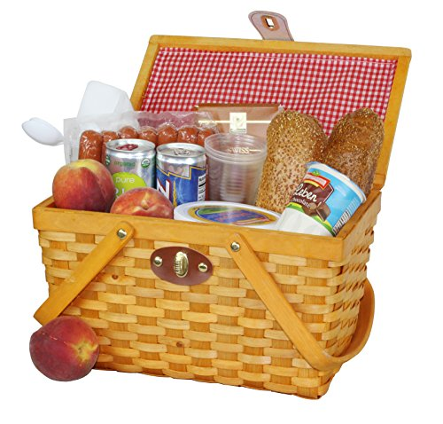 Vintiquewise(TM) QI003081 Gingham Lined Picnic Basket with Folding Handles (Picnic Basket Wicker)