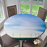 "Mikihome Round Table Tablecloth Blue Sky Wind Power Generation for Wedding Restaurant Party 55""-59"" Round (Elastic Edge)"