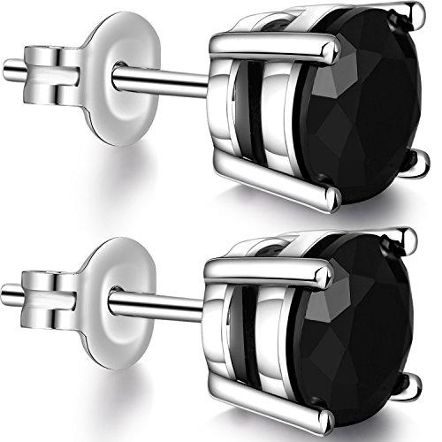 Black Diamond Earrings Men Black Earrings Sterling Silver Black Cubic Zirconia Stud Earring Women Black Earrings 6mm Black CZ Earrings Mens Black Stud Earrings Hypoallergenic Black Silver Earrings