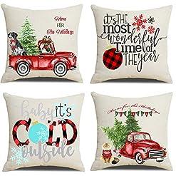 Christmas Farmhouse Home Decor Artmag 16×16 Christmas Throw Pillow Covers, Decorative Outdoor Farmhouse Merry Christmas Xmas Christmas Tree Pillow… farmhouse christmas pillow covers