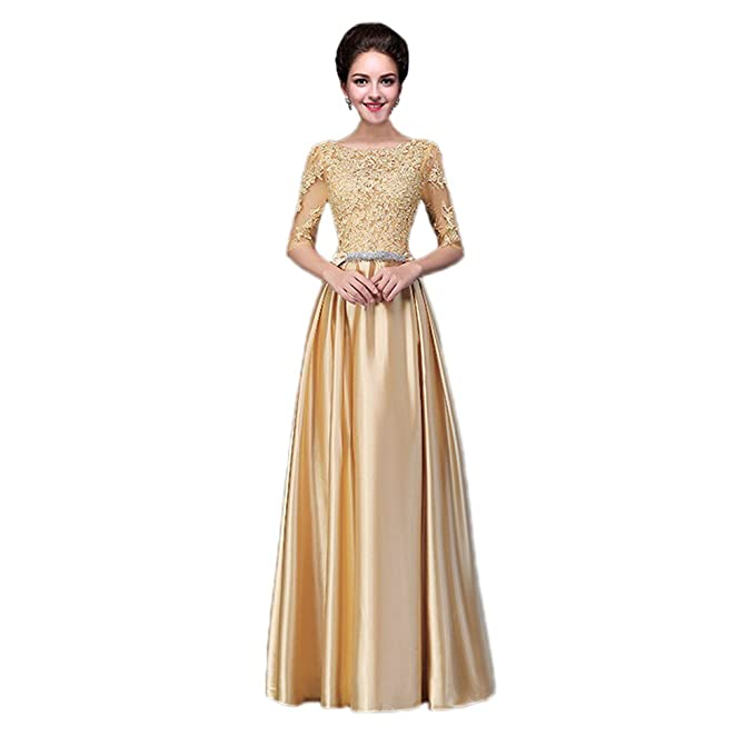 Vimans manga larga vestidos de raso para mujeres elegante formal vestido con encaje dorado dorado 46
