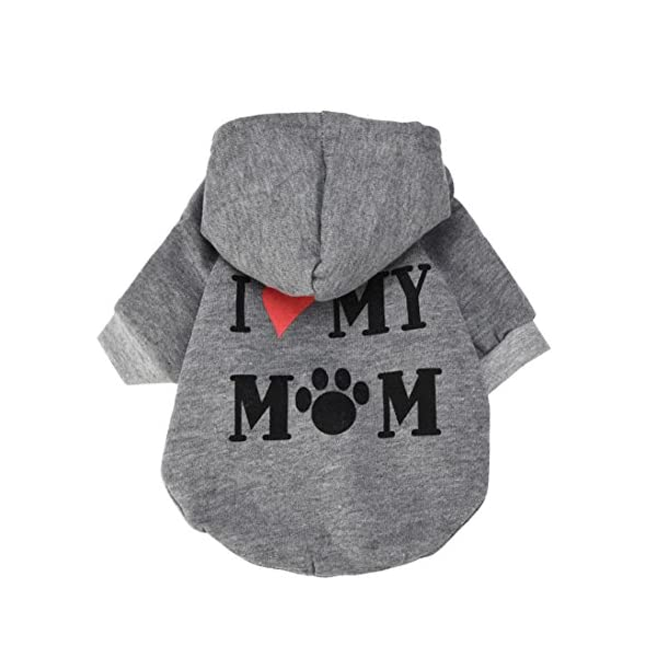 Howstar Pet Clothes, Puppy Hoodie Sweater Dog Coat Warm Sweatshirt Love My Mom Printed Shirt (M, Gray)