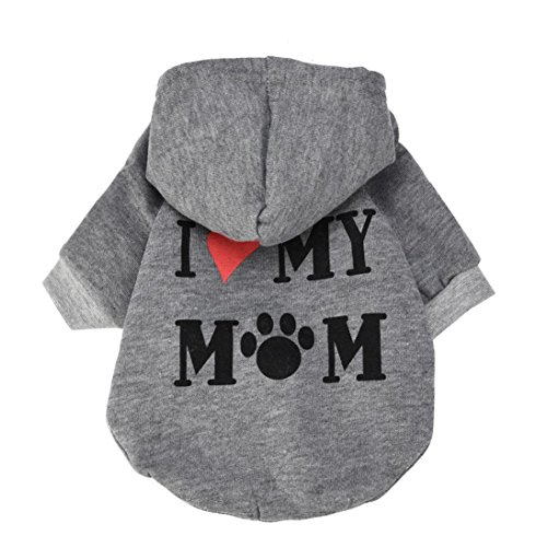 Howstar Pet Clothes, Puppy Hoodie Sweater Dog Coat Warm Sweatshirt Love My Mom Printed Shirt (M, Gray)