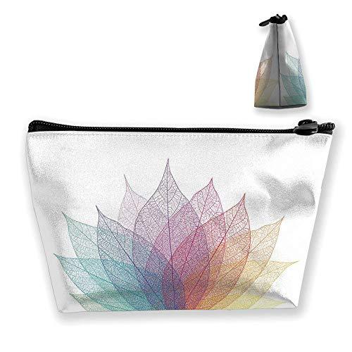 Ladies handbag Cosmetic Bag Wallet,Artwork Four Season Flora Delicate Transparent,Travel and Family Portable Cosmetic Bags