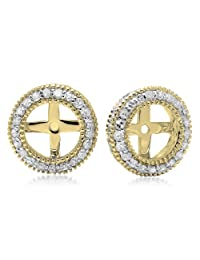 0.55 Carat (ctw) 14K Gold Round Cut Diamond Millgrain Removable Jackets For Stud Earrings 1/2 CT