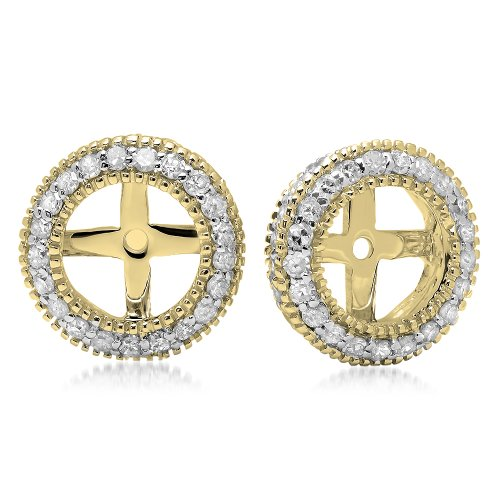 0.55 Carat (ctw) 14K Yellow Gold Round Cut Diamond Millgrain Removable Jackets For Stud Earrings 1/2 CT by DazzlingRock Collection