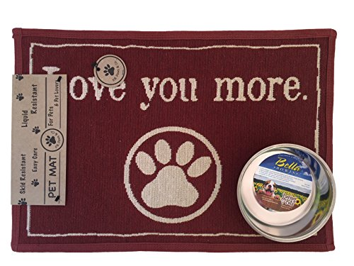 Small Pets Food Station Bundle: 1 Stainless Steel Bowl and 1 Liquid Resistant Mat (Merlot Love You More)