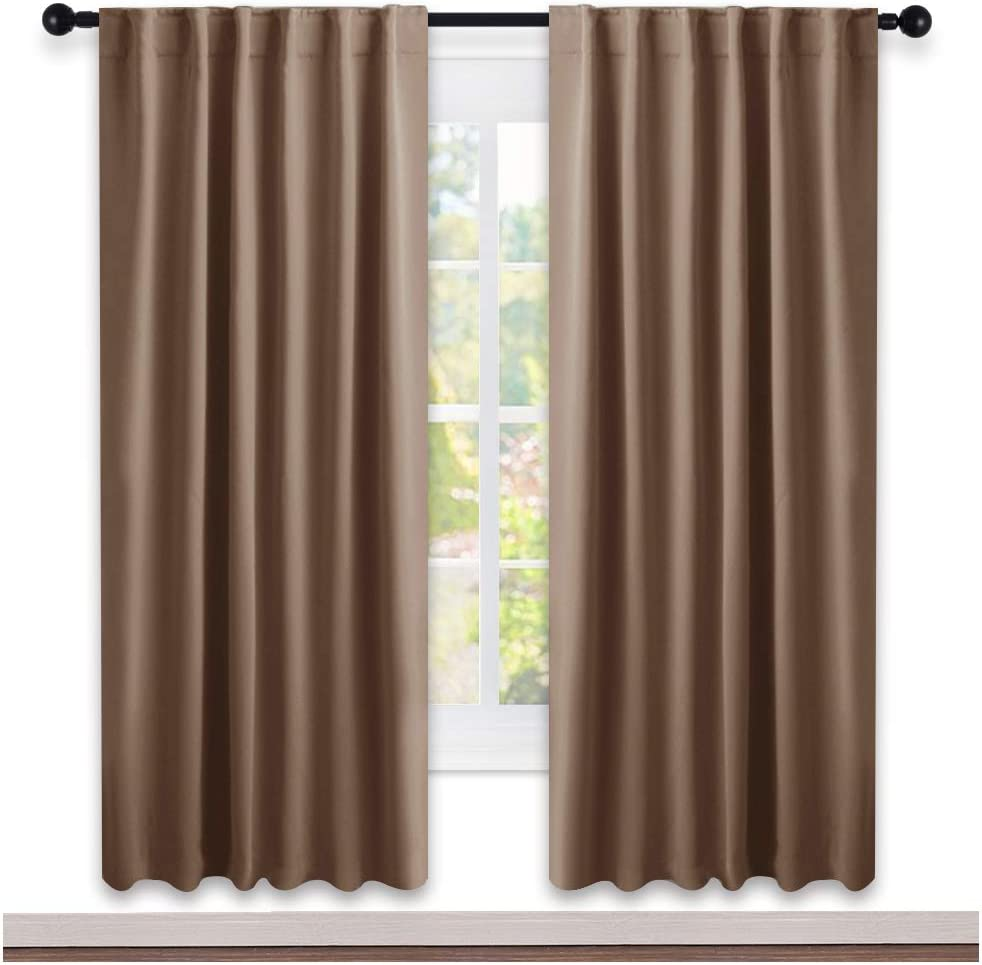 NICETOWN Window Treatment Blackout Window Blinds - (Cappuccino Color) 52x72 Inch, 1 Pair, Back Tab/Rod Pocket Blackout Draperies for Bedroom