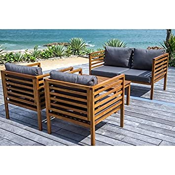 Majorque salon de jardin 4 pieces en bois acacia fsc: Amazon ...