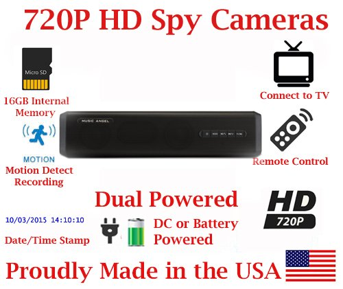 SecureGuard 720P HD 8 Hour Battery Powered Spy Camera Hidden inside a Mobile Bluetooth Speaker HD Nanny Camera Spy Gadget AMAZING HD SPEAKER + AMAZING HD SPY CAMERA Spy Gear Gadget (New 2018 Model) by AES Spy Cameras