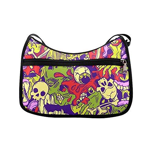 [Custom Crossbody Bag Halloween Pattern With Horror Elements Oxford Fabric Durable Shoulder Bag for Women] (Custom Halloween Pattern)